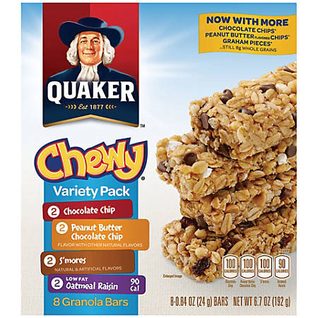 Quaker® Chewy Granola Bars Variety Pack, 0.84 Oz, Box Of 8