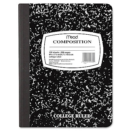 """Mead Composition Book - Sewn - 7 1/2"""" x 9 3/4"""" - Black Paper - Black Marble Cover - 1Each"""