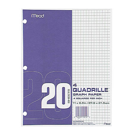 mead graph filler paper letter size quadrille ruled pack of 240