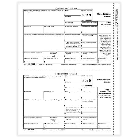 "ComplyRight™ 1099-MISC Tax Forms, Laser Cut, Recipient Copies B And 2, 8-1/2"" x 11"", Pack Of 50 Forms"