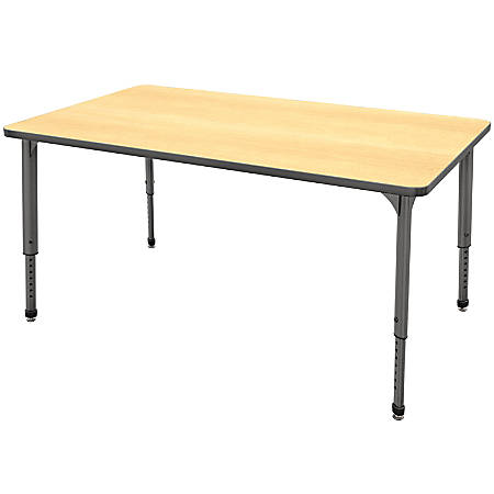 """Marco Group™ Apex™ Series Rectangle Adjustable Table, 30""""H 60""""W x 30""""D, Maple/Gray"""