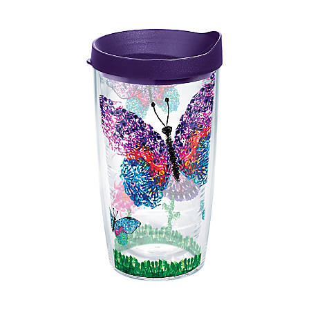 Tervis American Cancer Society Butterflies Tumbler With Lid, 16 Oz, Clear