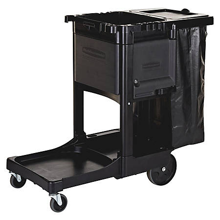 "Rubbermaid® Executive Janitorial Cart, 22 1/2"" x 11 3/4"" x 34 1/2"", Black"
