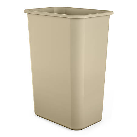 Suncast Commerical Desk-Side Rectangular Resin Trash Cans, 10 Gallons, Beige, Set of 12 Cans
