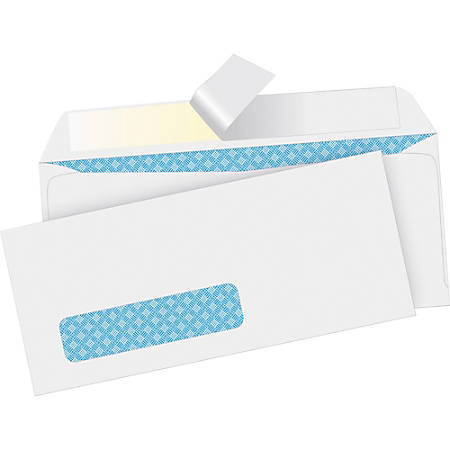 "Business Source Security Tint Window Envelopes - Business - #10 - 9 1/2"" Width x 4 1/8"" Length - Peel & Seal - Wove - 500 / Box - White"
