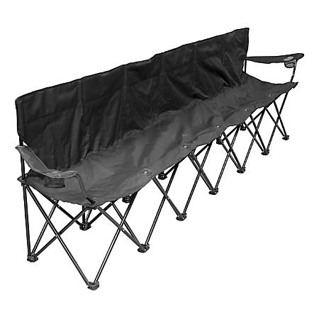Creative Outdoor 6-Person Folding Straight Bench, Black