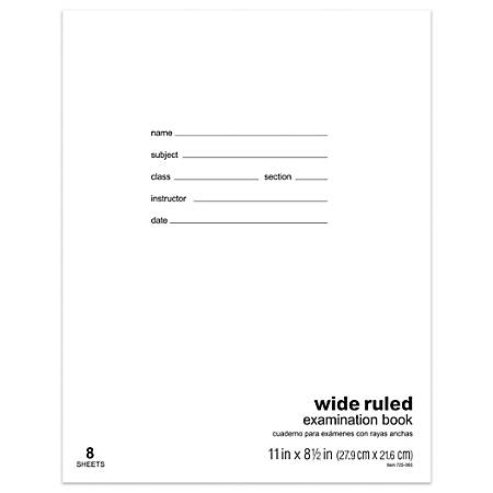"Office Depot® Brand Examination Booklet, 11"" x 8 1/2"", Wide Ruled, 8 Sheets"