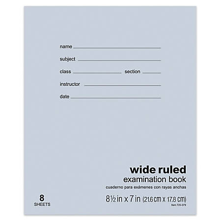 "Office Depot® Brand Examination Booklet, 8 1/2"" x 7"", 8 Sheets"