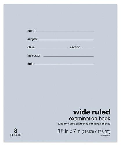 Office Depot Brand Examination Booklet 8 1 2 X 7 8 Sheets Item 725079