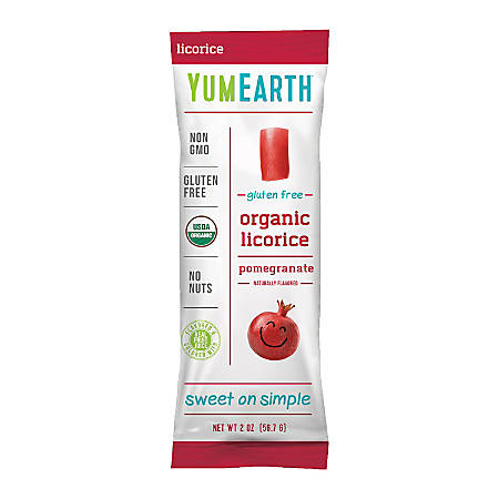 Yummy Earth Organic Gluten-Free Licorice, Pomegranate, 2 Oz, Pack Of 12 Bags