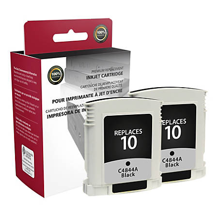 Clover Imaging Group OD844AX2 Remanufactured Ink Cartridges Replacement For HP 10 Black, Pack Of 2