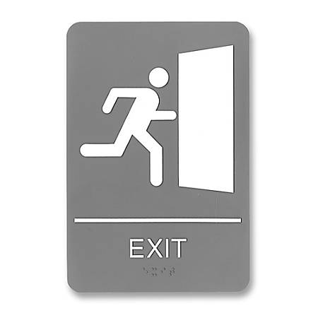 """U.S. Stamp & Sign ADA Sign, 6"""" x 9"""", """"Exit"""", Gray/White"""