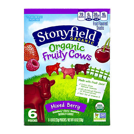 Stonyfield Organic Mixed Berry Fruit Snacks, 6 Pouches Per Box, Case Of 8 Boxes