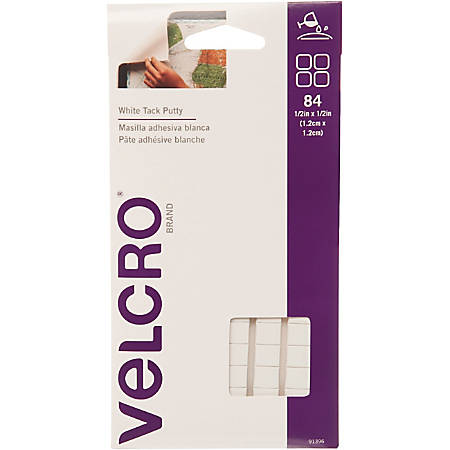 "VELCRO® Brand Putty Adhesive - 0.50"" Width x 0.50"" Length - Adhesive Backing - 84 / Pack - White"
