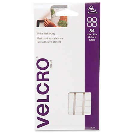 """VELCRO® Brand Putty Adhesive - 0.50"""" Width x 0.50"""" Length - Adhesive Backing - 84 / Pack - White"""