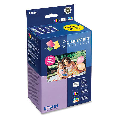 Epson® T5846 PictureMate Glossy Print Pack, Multicolor Ink Cartridge and Paper, 100 Sheets