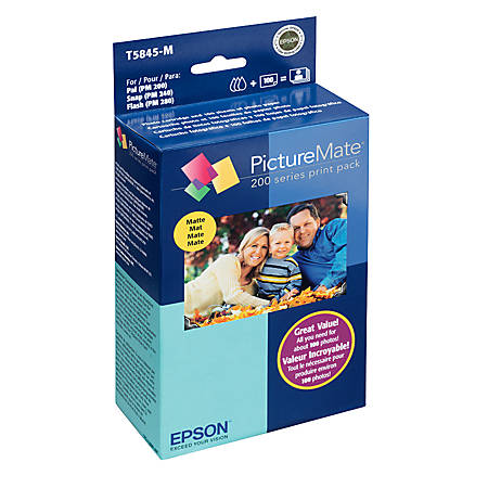 Epson® T5845-M PictureMate 200-Series Color Ink Print Pack, 100 Sheets