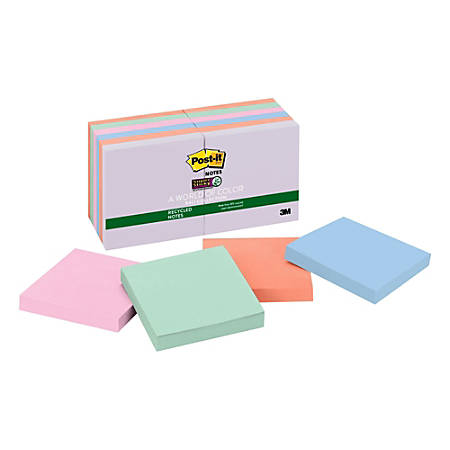 """Post-it® Super Sticky Recycled Notes, 3"""" x 3"""", Bali, Pack Of 12 Pads"""