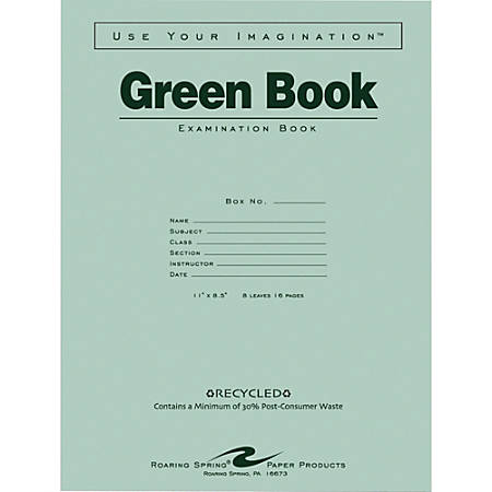 """Roaring Spring 30% Recycled Wide-Ruled Examination Book, 8 1/2"""" x 11"""", 8 Sheets, Green"""