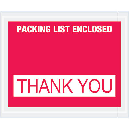"""Tape Logic® Preprinted Packing List Envelopes, Packing List Enclosed - Thank You, 4 1/2"""" x 5 1/2"""", Red, Case Of 1,000"""