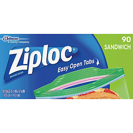 "Ziploc® Brand Sandwich Bags - 5.88"" Width x 6.50"" Length - Clear - 90/Box - 90 Per Box - Sandwich, Food"