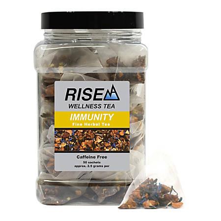 RISE NA Wellness Tea, Green Tea And Rooibos, 8 Oz, Canister Of 50 Sachets