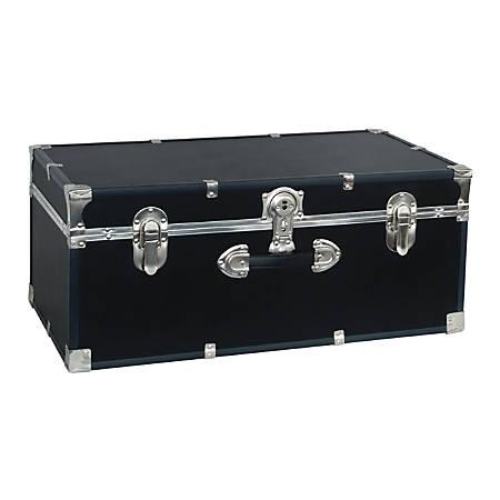 "Advantus Stackable Footlocker Trunk, 15-3/4"" x 30"" x 12"", Black"