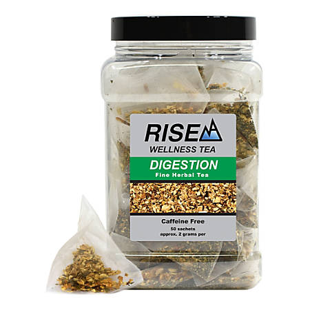 RISE NA Wellness Tea, Orange, Ginger And Peppermint, 8 Oz, Canister Of 50 Sachets