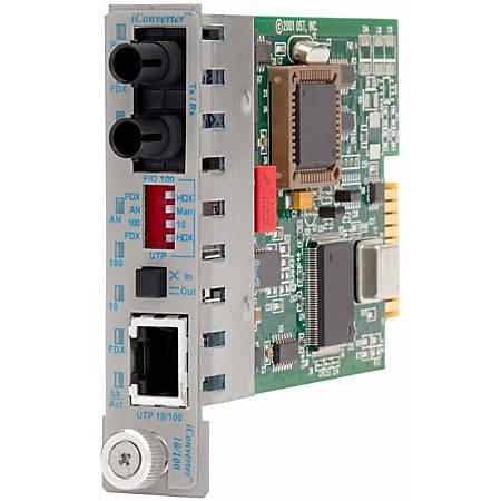 iConverter 10/100 Ethernet Fiber Media Converter RJ45 ST Single-Mode 30km Module Wide Temp - 1 x 10/100BASE-TX; 1 x 100BASE-LX; Internal Module; Lifetime Warranty