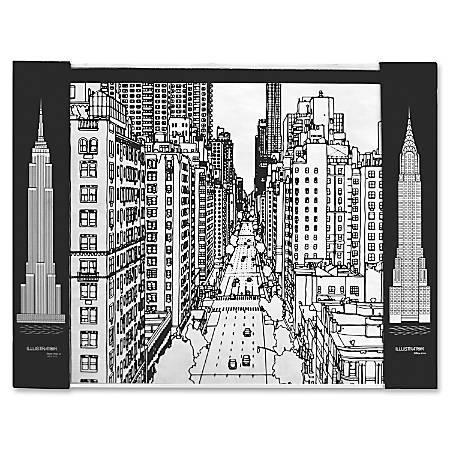 "Aurora Illustrator Jr DeskPad Cityscape - Rectangle - 17"" Width x 22.8"" Depth - Kraft - Black, White"