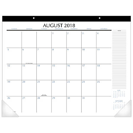 """Upper Class® Monthly Academic Desk Pad, 21 3/4"""" x 17"""", August 2018 To July 2019"""