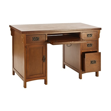 Southern Enterprises Mission Computer Desk Brown Gany By Office Depot Officemax