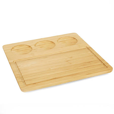 """Mind Reader Bamboo Serving Tray With Ceramic Dip Bowls, 13""""H x 12 1/2""""W x 12 1/2""""D, Brown"""