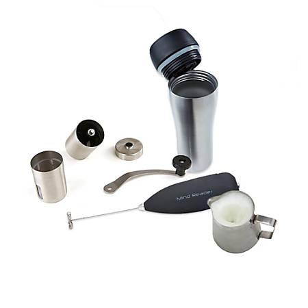 Mind Reader Coffee Lovers Travel Mug, Frother, Pitcher And Grinder Set, Silver