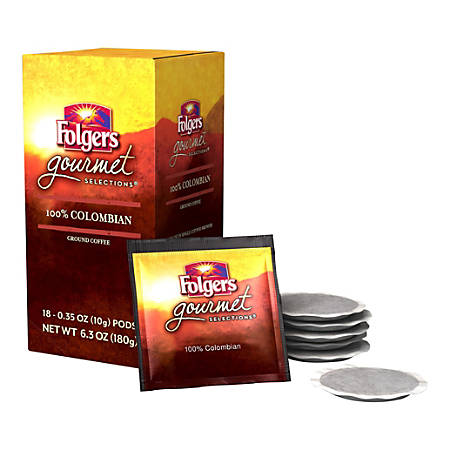 Folgers® Gourmet Selections Single-Serve Coffee Pods, Colombian, 6.3 Oz, Box Of 18