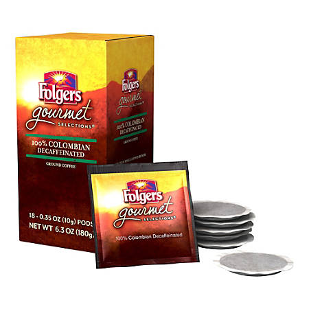 Folgers® Gourmet Selections Single-Serve Coffee Pods, Colombian Decaffeinated, 6.3 Oz, Box Of 18