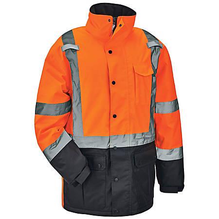 Ergodyne GloWear 8384 Type R Class 3 Polyester Thermal Parka, Large, Orange