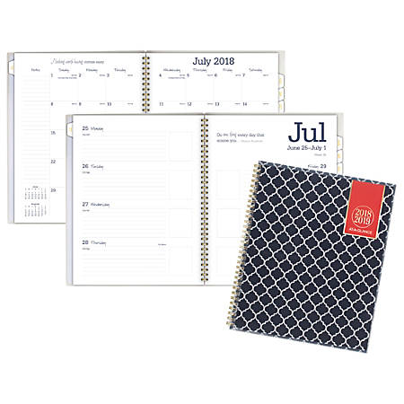"AT-A-GLANCE® Emma Moroccan Academic Weekly/Monthly Planner, 8 1/2"" x 11"", 30% Recycled, Navy/White, July 2018 to June 2019"