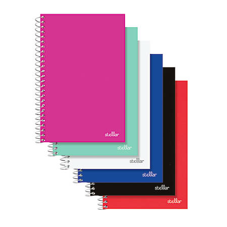 "Office Depot® Brand Spiral Poly Notebook, 8 1/2"" x 5"", College Ruled, 100 Sheets, Assorted Colors (No Color Choice)"