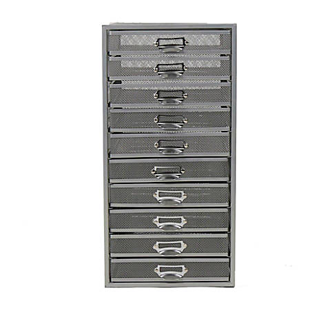 """Mind Reader 10-Drawer Mesh Office Cabinet, 21-1/2""""H x 10-1/2""""W x 13-3/4""""D, Silver, Standard Delivery"""
