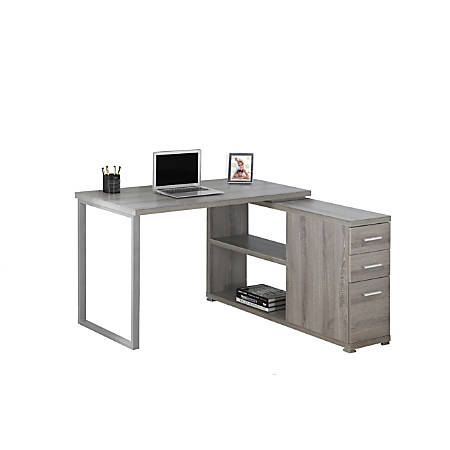 Monarch Specialties Left or Right Facing Corner Desk With Storage, Dark Taupe