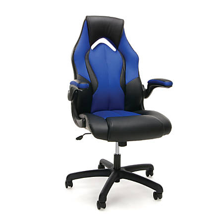 Groovy Ofm Essentials Racing Style Faux Leather High Back Gaming Chair New Padding Blue Black Item 725999 Ibusinesslaw Wood Chair Design Ideas Ibusinesslaworg