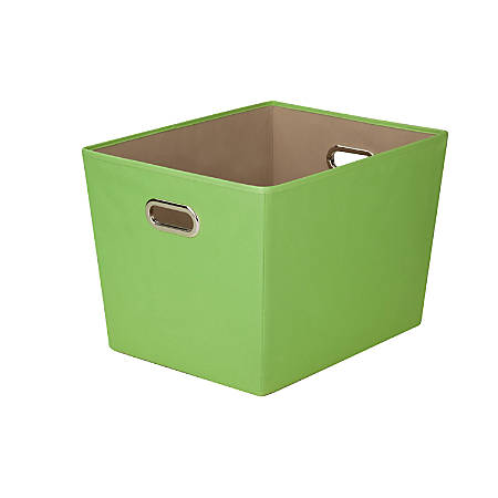"""Honey-Can-Do Large Decorative Storage Bin With Handles, 18 3/4""""L x 14 3/8""""W x 12 5/8""""H, Green"""