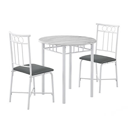 Monarch Specialties 3-Piece Marble-Top Bistro Dining Set, White