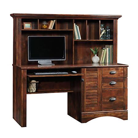 Sauder® Harbor View Collection Computer Desk With Hutch, Curado Cherry
