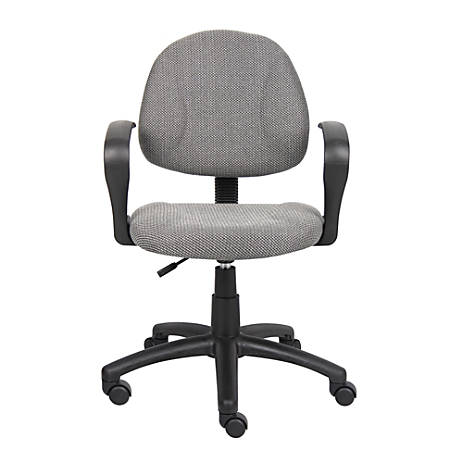 Boss Office Products Fabric Deluxe Posture Task Chair With Loop Arms, Gray/Black