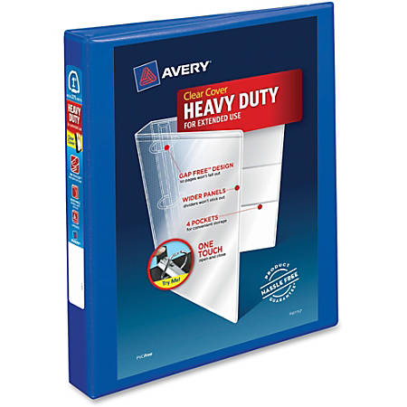 """Avery® Heavy-Duty View Binder With Locking EZD Rings, 1"""" Rings, 42% Recycled, Pacific Blue"""