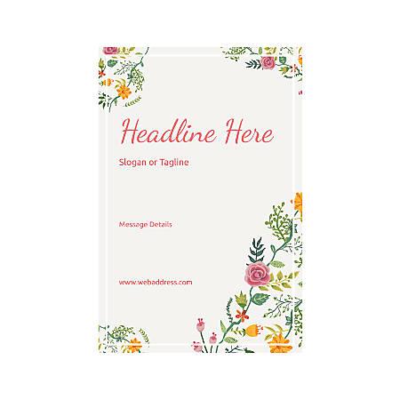 Custom Vertical Banner, Floral Design 6