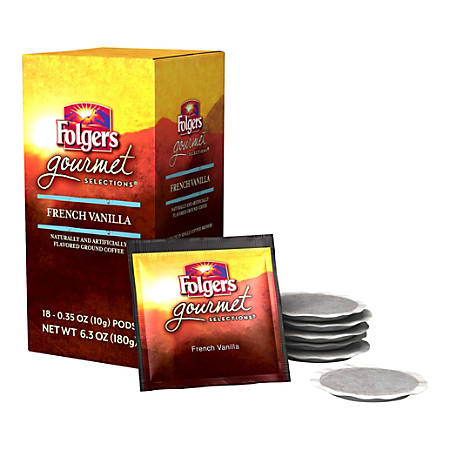Folgers® Gourmet Selections Single-Serve Coffee Pods, Vanilla Biscotti Decaffeinated, 6.3 Oz, Box Of 18