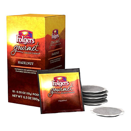 Folgers® Gourmet Selections Single-Serve Coffee Pods, Hazelnut, 6.3 Oz, Box Of 18